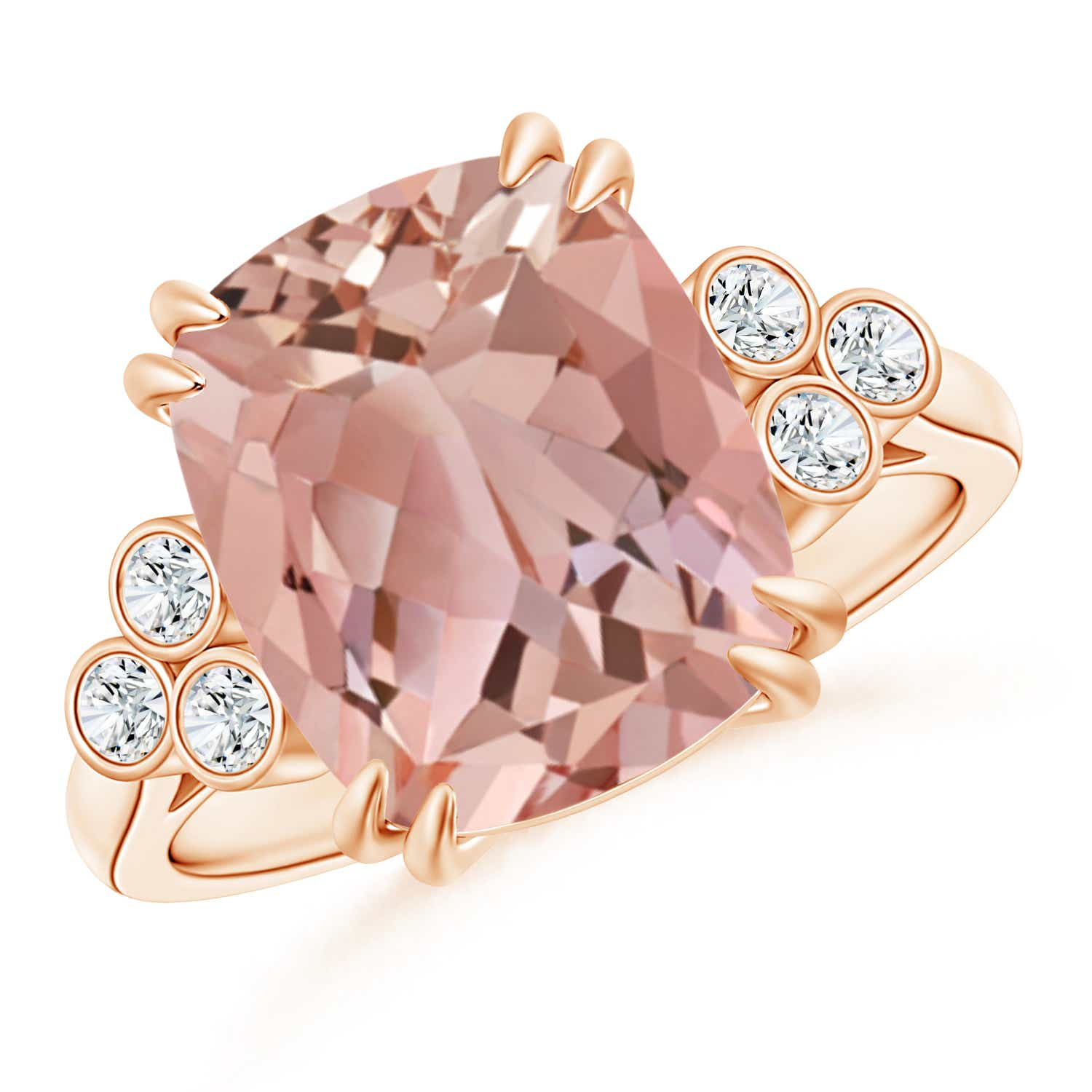 Cushion Morganite Ring with Trio Bezel Diamonds | Angara