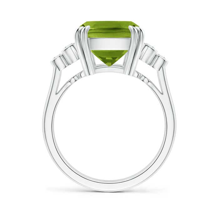 Solitaire Cushion Cut Peridot Ring with Trio Diamonds - Angara.com