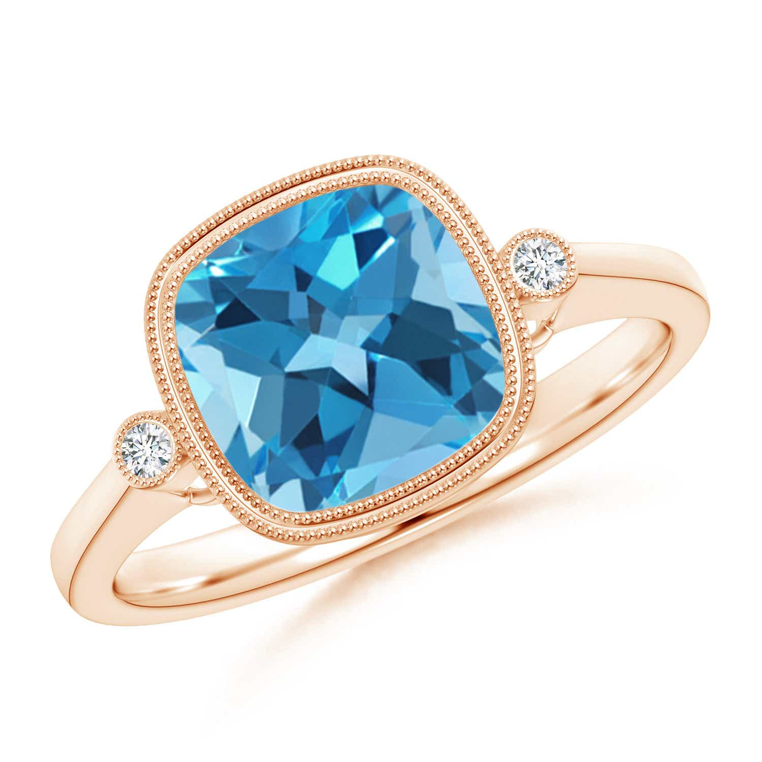 Angara Round Swiss Blue Topaz Solitaire Ring with Milgrain Detailing POM6o