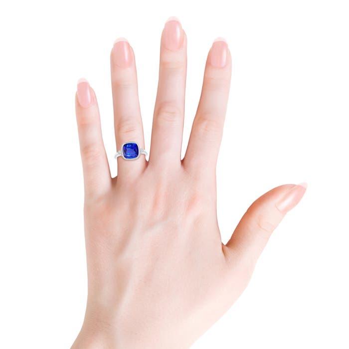 Bezel Set Cushion Tanzanite Ring with Milgrain Detailing - Angara.com