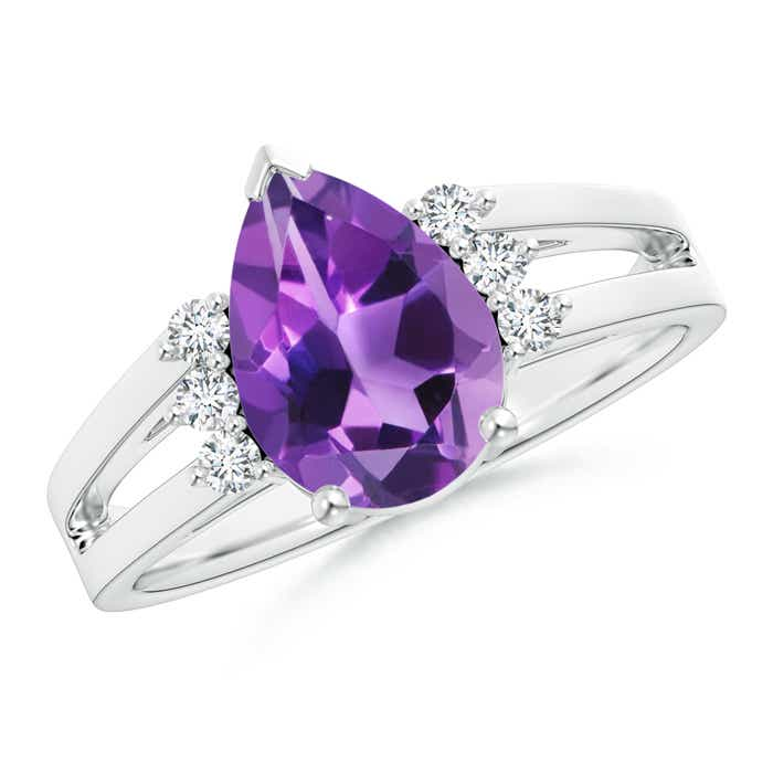 Solitaire Pear Amethyst Ring With Triple Diamond Accents - Angara.com