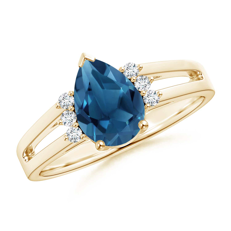 Angara Pear Shaped London Blue Topaz Ring with Diamond Halo nwgbX4Lf