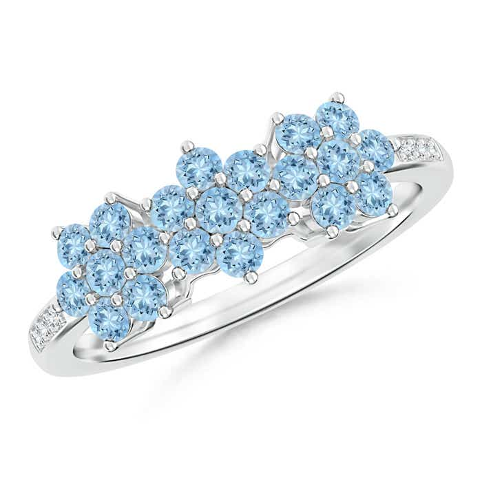 Classic Triple Flower Aquamarine Ring with Diamond Accents - Angara.com
