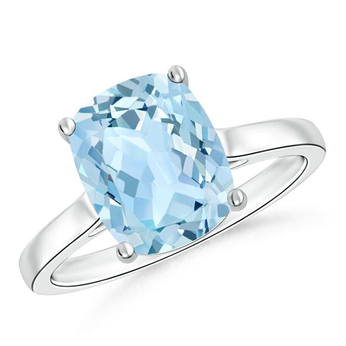 classic cushion cut aquamarine solitaire engagement ring