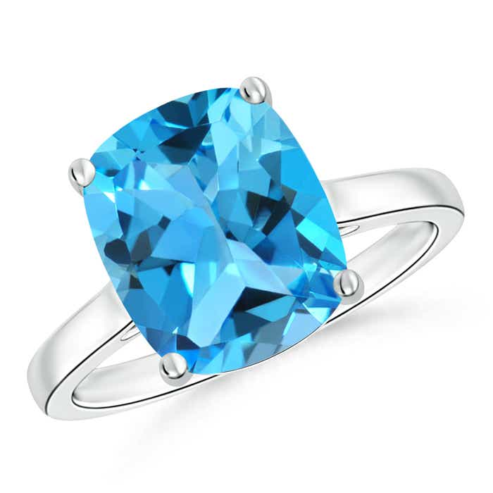 Classic Cushion Cut Swiss Blue Topaz Solitaire Engagement Ring - Angara.com