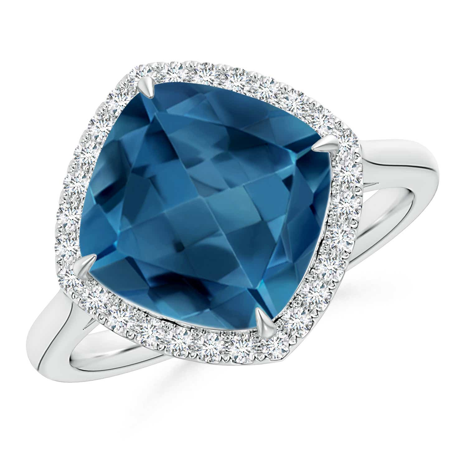 Angara Cocktail Ring with Natural London Blue Topaz in Rose Gold iaG6uOg943