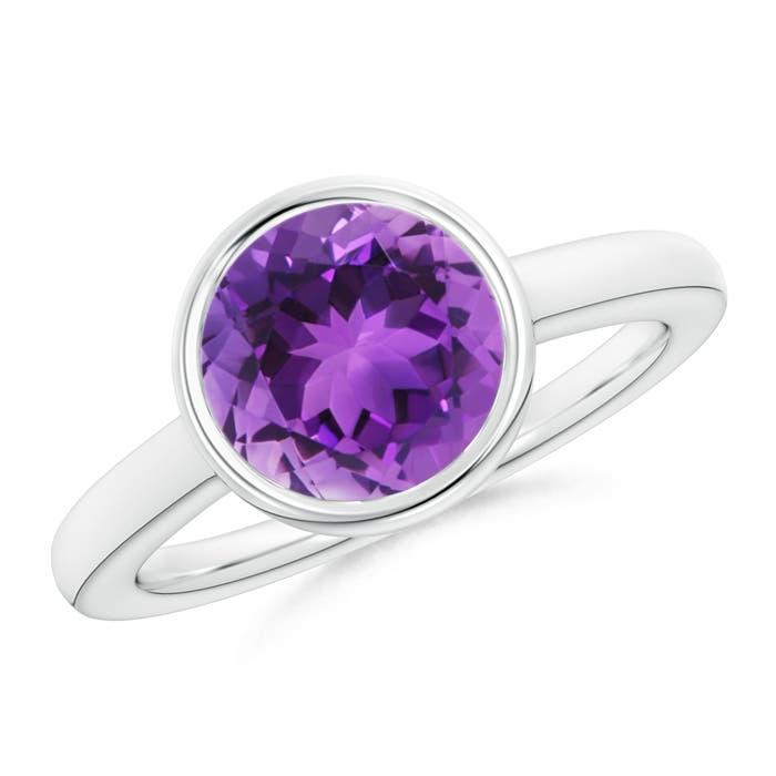 Bezel-Set Round Amethyst Solitaire Engagement Ring - Angara.com