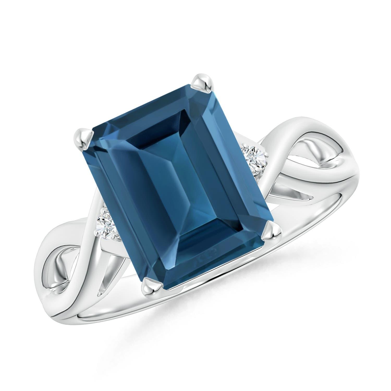 Angara Twist Shank Emerald-Cut London Blue Topaz Ring in White Gold u517Z4ucN