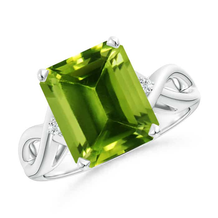Twist Shank Emerald Cut Peridot Statement Ring - Angara.com