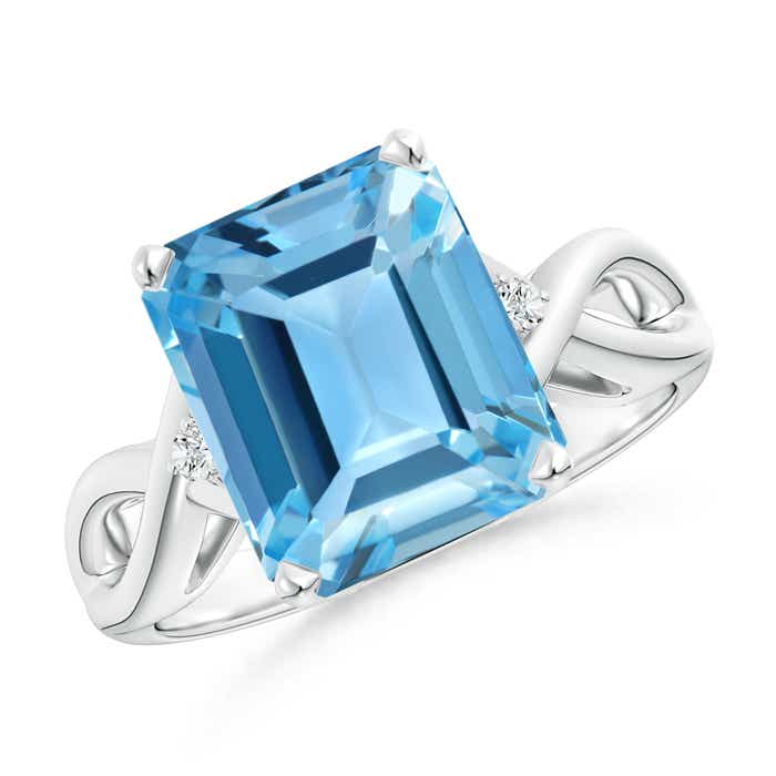 Angara Emerald-Cut Swiss Blue Topaz Statement Ring in Yellow Gold
