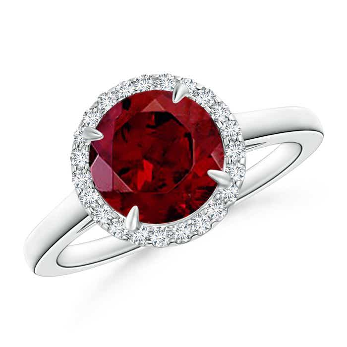 Angara Floating Diamond Halo Garnet Cathedral Ring in White Gold Tdw1by