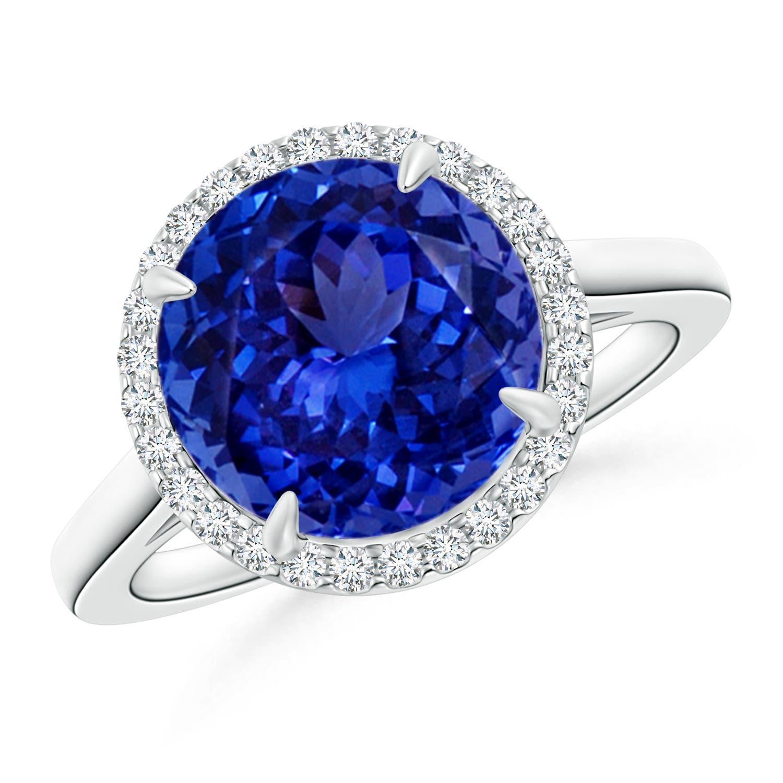 Diamond Halo Tanzanite: Tanzanite Diamond Cathedral Halo Ring (GIA Certified