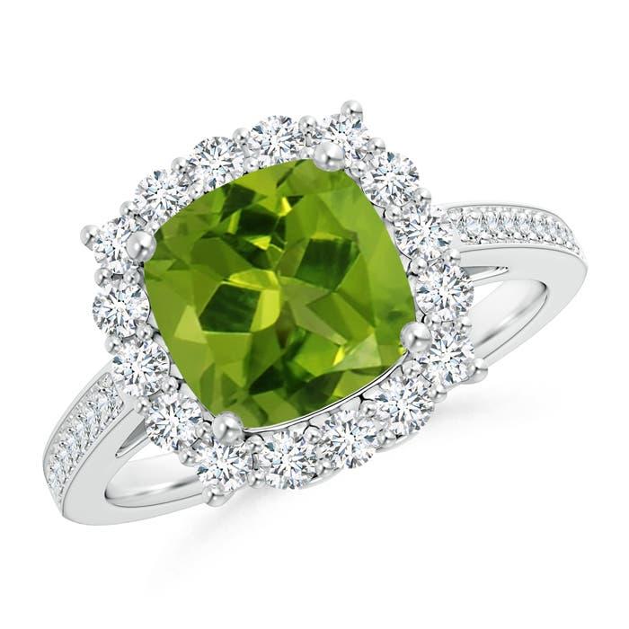 Cushion Peridot Cocktail Ring with Diamond Halo - Angara.com