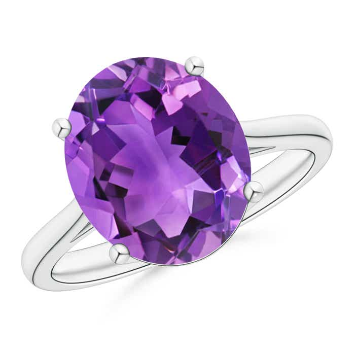 Angara Vintage Amethyst Cocktail Ring in White Gold 9G1l1