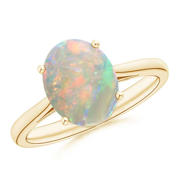 Angara Bezel-Set Opal Ring in Platinum - October Birthstone Ring PK9zW0Gt