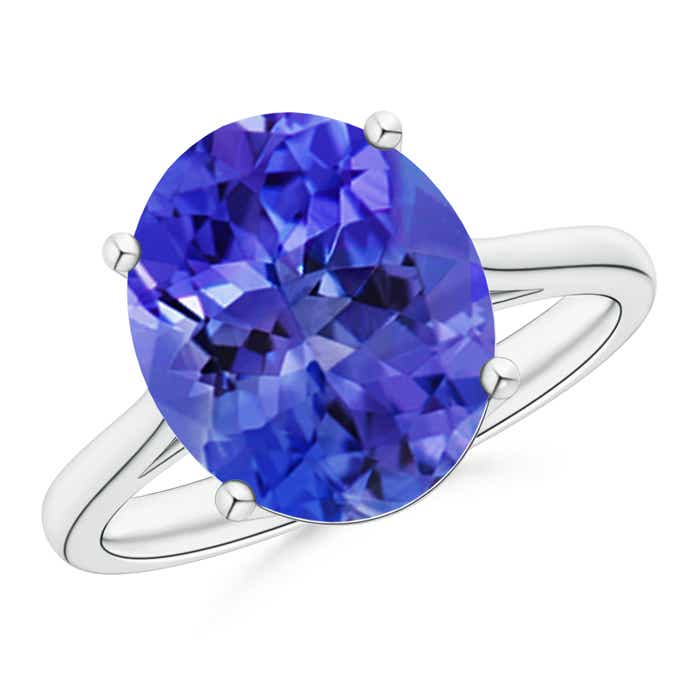 Classic Prong Set Solitaire Oval Tanzanite Cocktail Ring - Angara.com