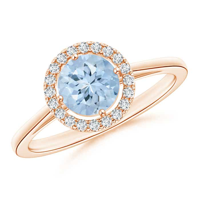 Angara Floating Diamond Halo Aquamarine Cathedral Ring in Platinum A8crOo3
