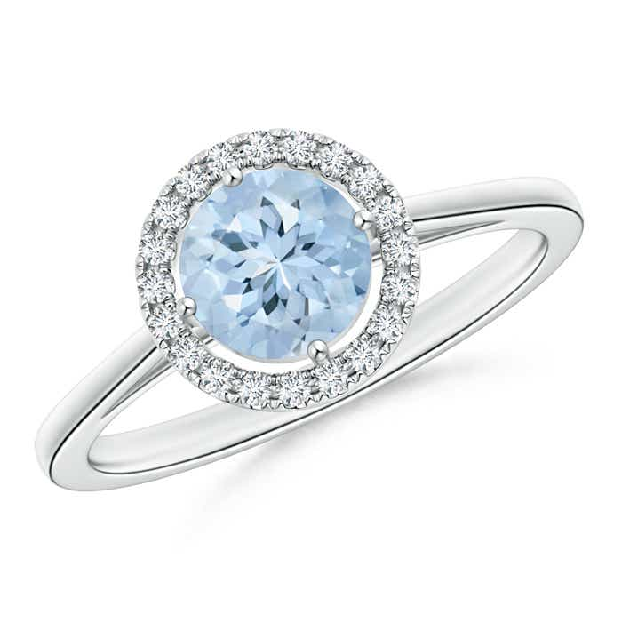 Angara Floating Diamond Halo Aquamarine Cathedral Ring in White Gold