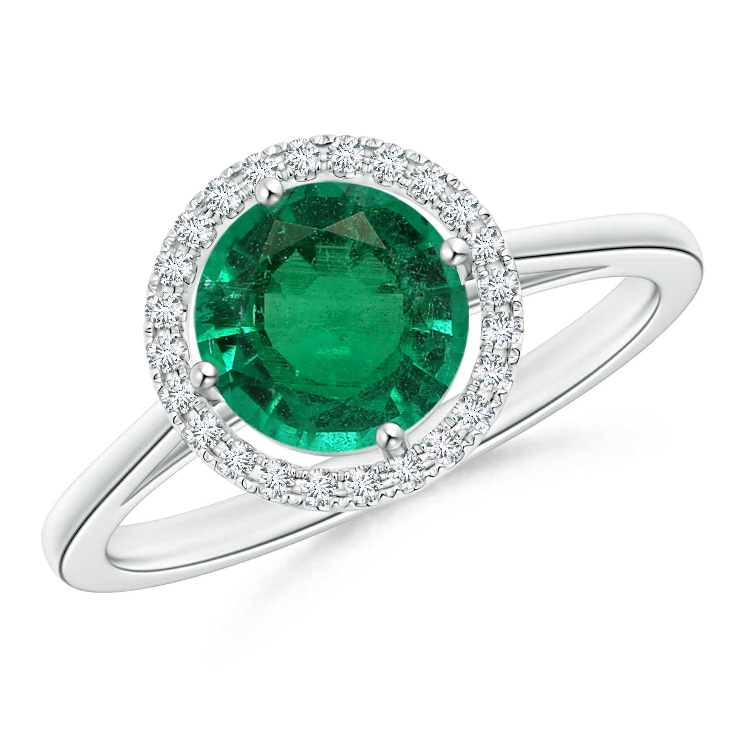 Cathedral Emerald and Diamond Halo Ring (GIA Certified Emerald) - Angara.com