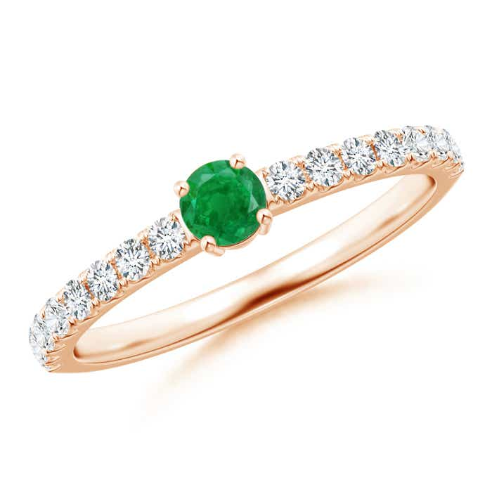 Classic Solitaire Emerald Promise Ring with Pave Diamonds