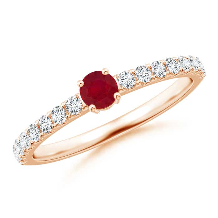 Classic Solitaire Ruby Promise Ring with Pavé Diamonds