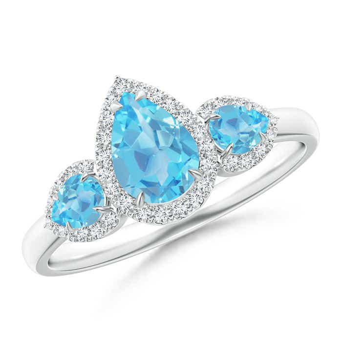 Angara Natural London Blue Topaz and Diamond Three Stone Ring in Platinum