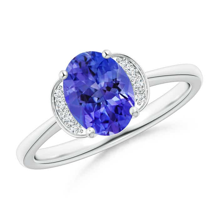 Angara Solitaire Oval Tanzanite Collar Ring with Diamond in Platinum x2OeSNWr