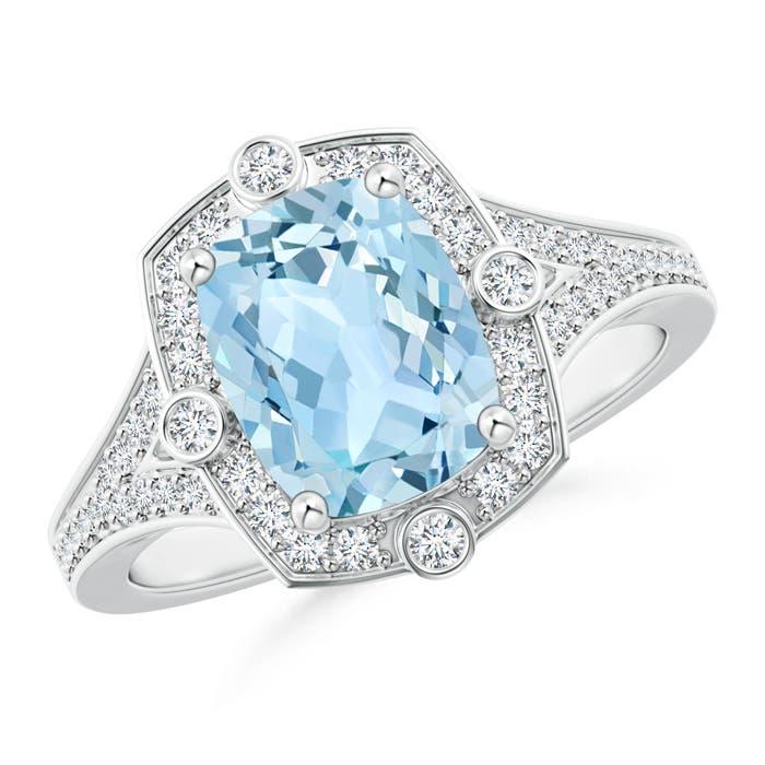 Art Deco Inspired Cushion Aquamarine and Diamond Halo Ring - Angara.com