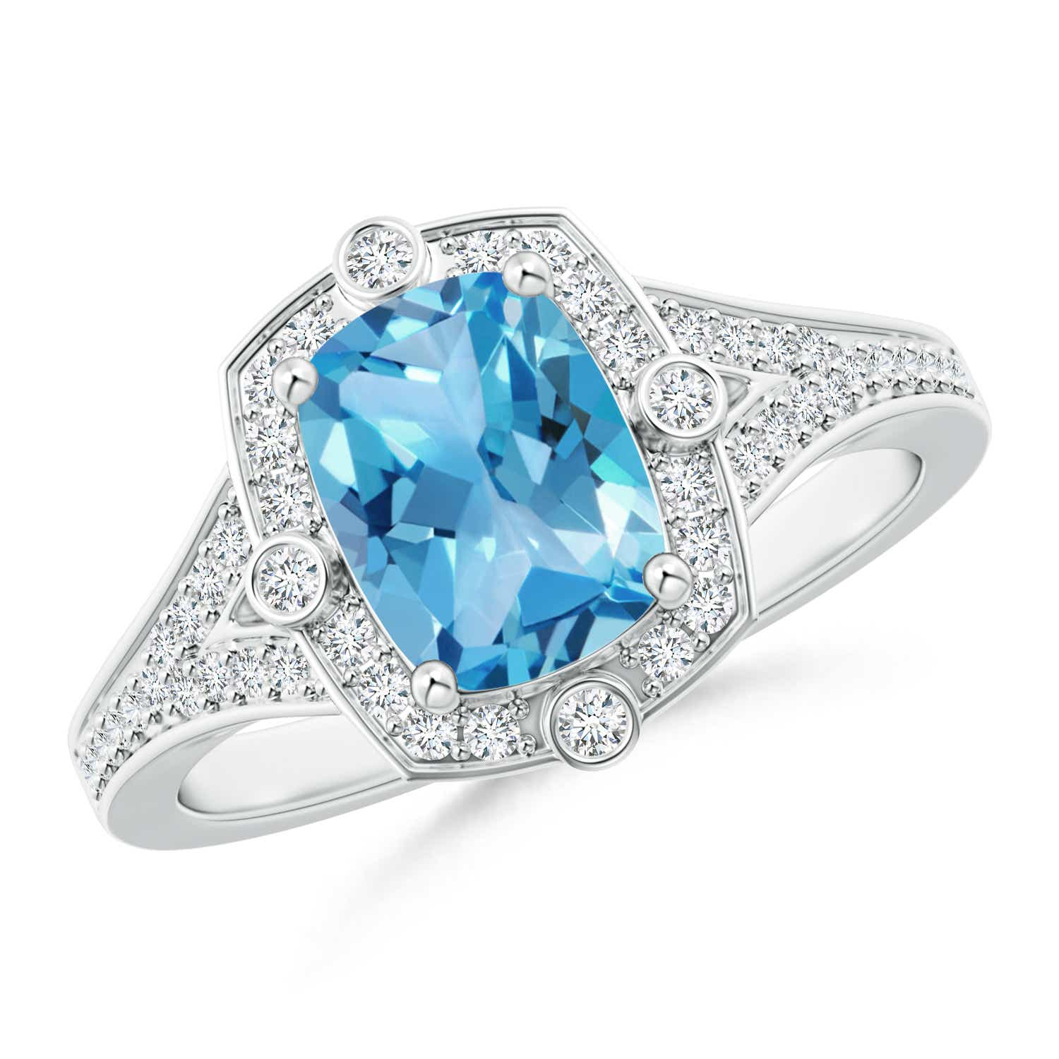 Angara Diamond Halo Cushion Swiss Blue Topaz Ring in Yellow Gold 7FAk5esPks