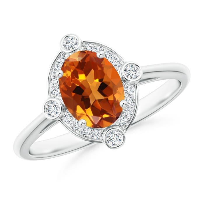 Deco Inspired Oval Citrine and Diamond Halo Ring - Angara.com