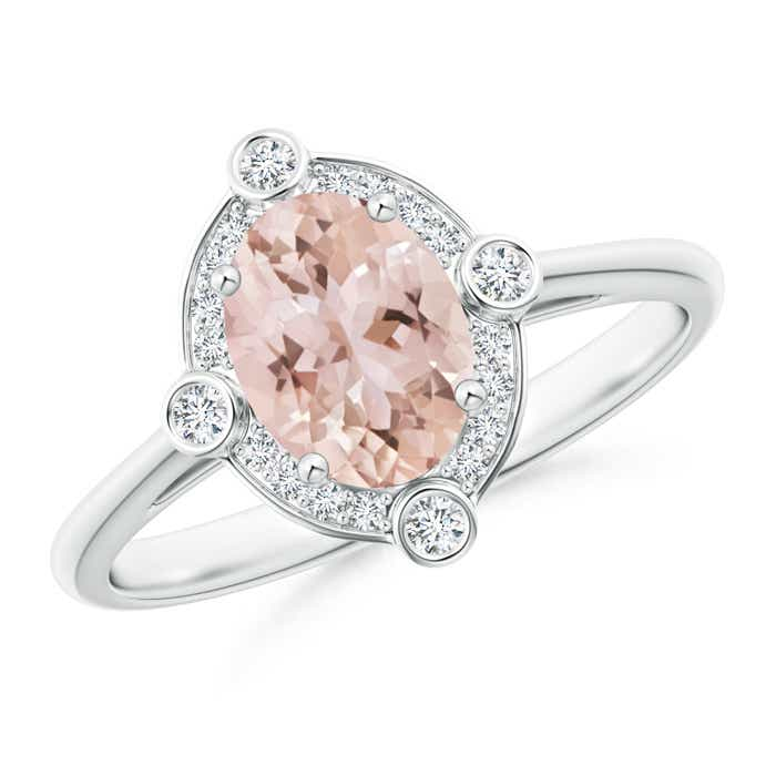 Angara Natural Oval Morganite Ring in White Gold nitYP996e