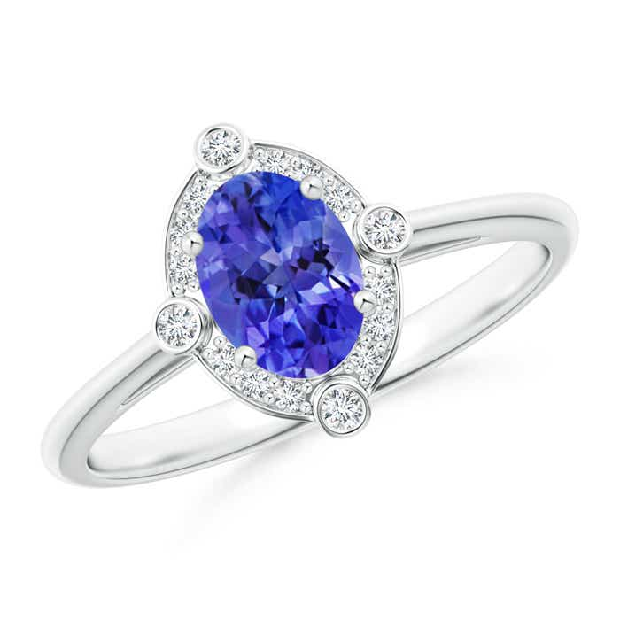 Angara Oval Tanzanite and Diamond Halo Engagement Ring in Platinum CW8bX1DtJd