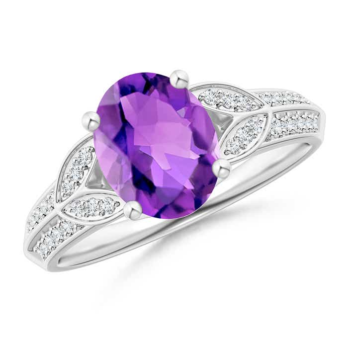 Knife-Edged Oval Amethyst Solitaire Ring with Pave Diamonds - Angara.com
