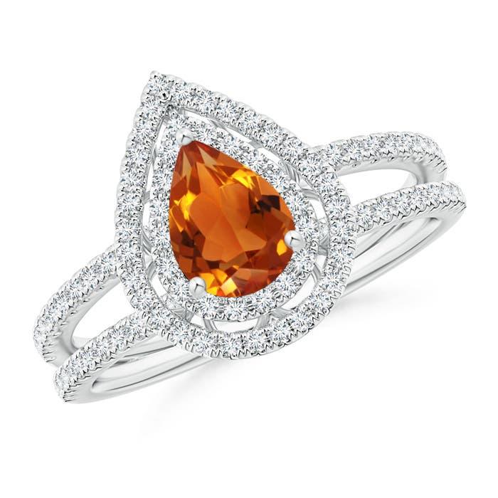 Split Shank Pear Citrine and Diamond Double Halo Ring - Angara.com