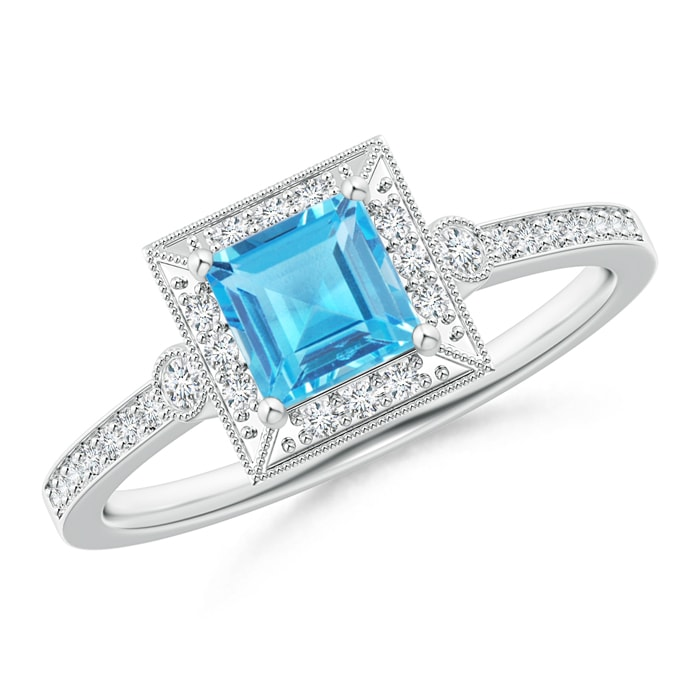 Milgrain-Edged Square Swiss Blue Topaz and Diamond Halo Ring - Angara.com