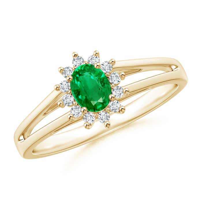 Princess Diana Inspired Emerald Halo Split Shank Ring Angara
