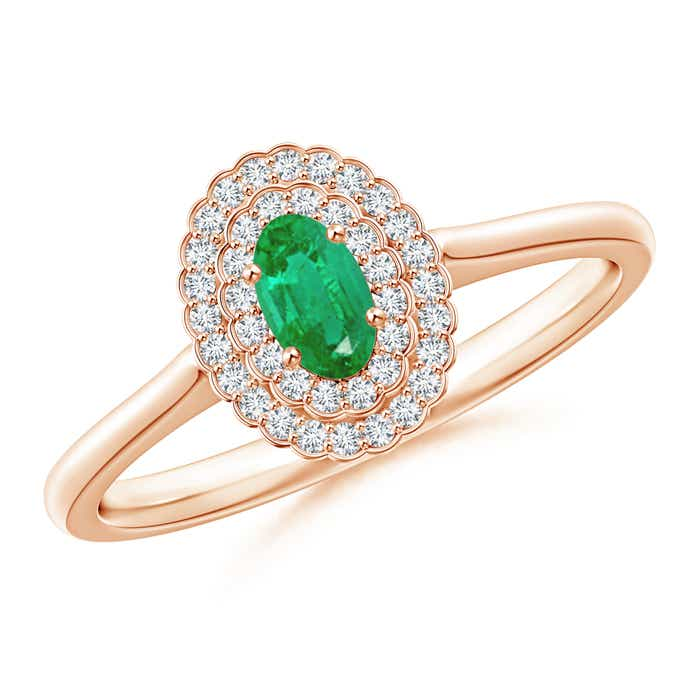 Angara Diamond Halo and Oval Emerald Engagement Ring in Yellow Gold BJlUH