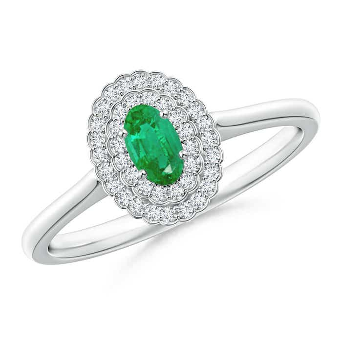 Angara Emerald Oval and Diamond Halo Engagement Ring in White Gold LXOqSb