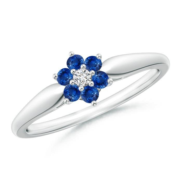 Classic Six Petal Sapphire and Diamond Flower Ring - Angara.com