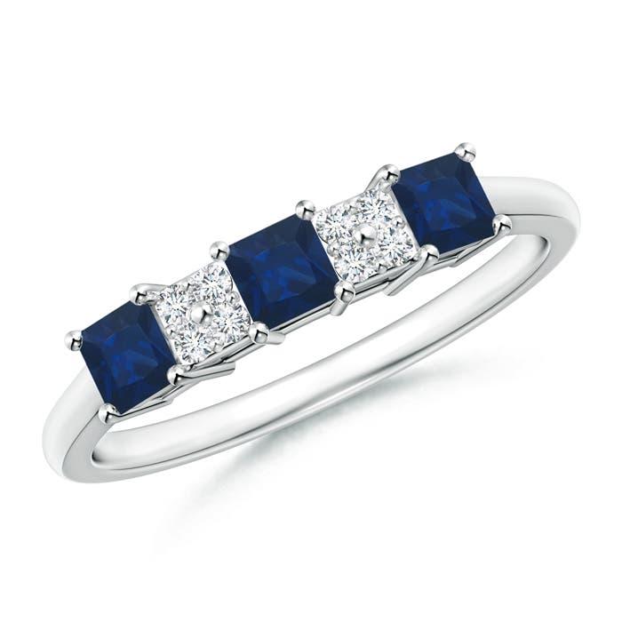 Cluster-Set-Diamond-3-Stone-Square-Blue-Sapphire-Ring-14k-Gold-Platinum