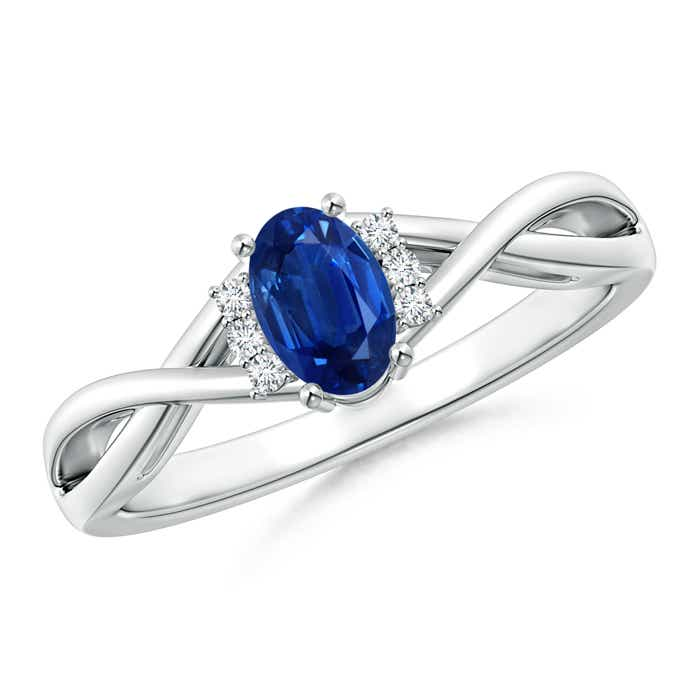 Oval Blue Sapphire Crossover Ring with Diamond Accents - Angara.com
