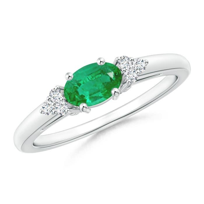 Angara Natural Emerald Solitaire Ring With Trio Diamonds in Platinum FmTHzgDRR