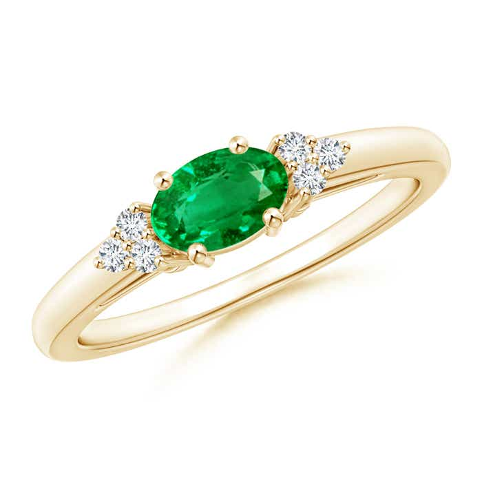 East West Set Emerald Solitaire Ring with Diamonds - Angara.com