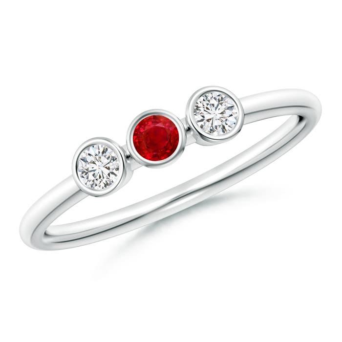 Classic Bezel Ruby and Diamond Three Stone Ring - Angara.com
