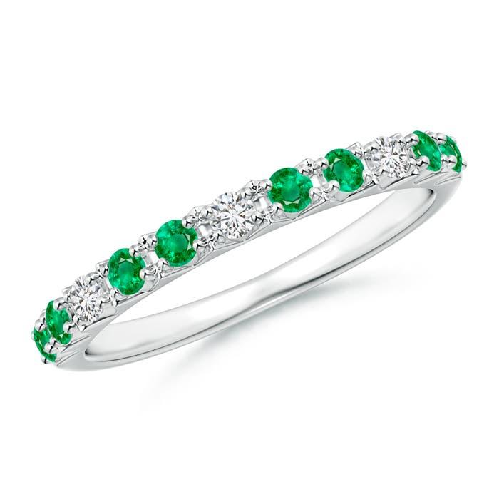 Round Emerald and Diamond Half Eternity Wedding Ring - Angara.com