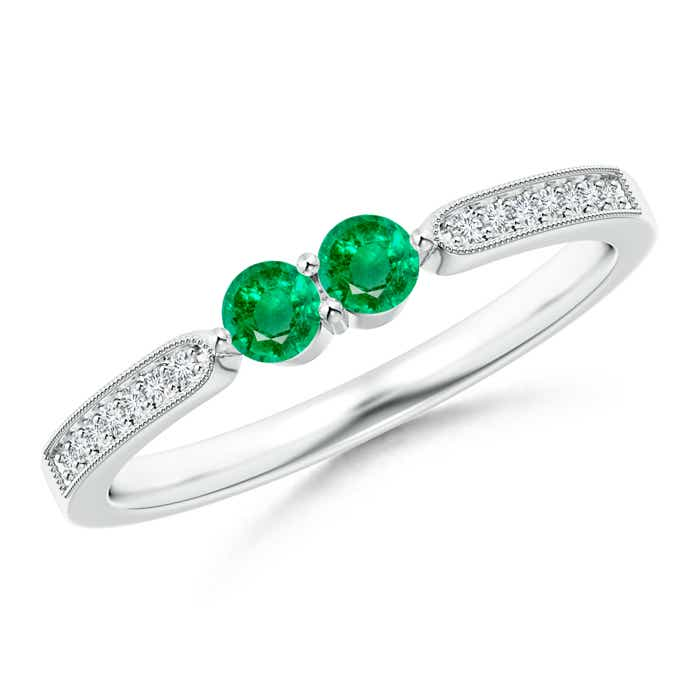 Vintage Inspired Two Stone Emerald Ring with Diamond Accents - Angara.com