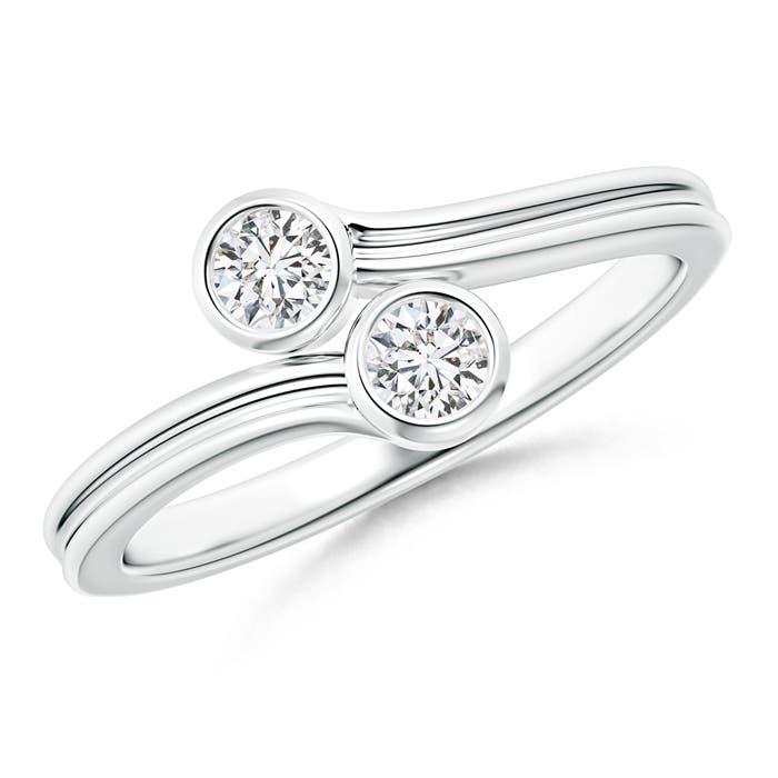 Bypass Bezel-Set Round 2 Stone Diamond Ring - Angara.com