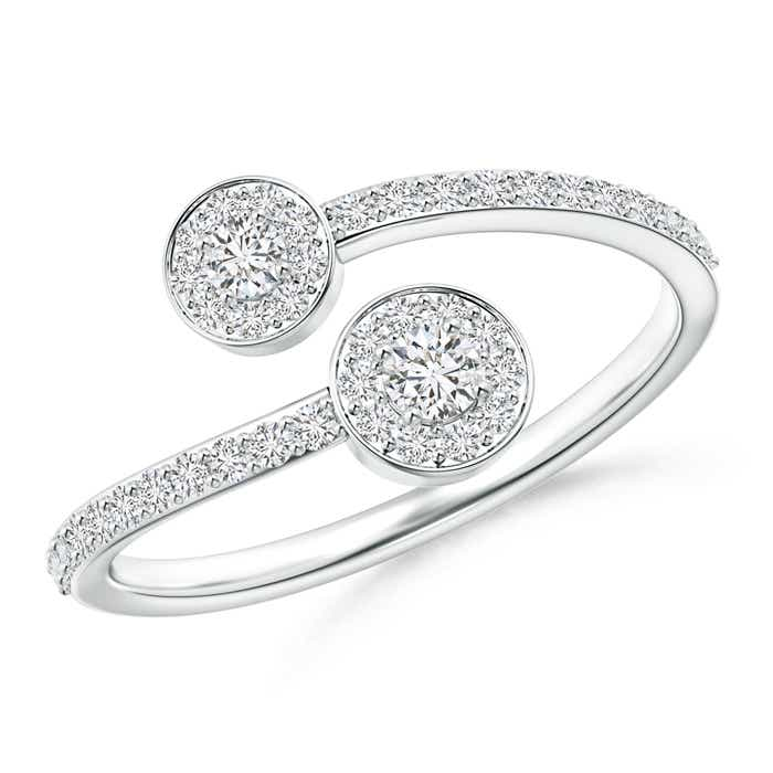 Bypass Classic Double Stone Diamond Ring with Diamond Accent - Angara.com