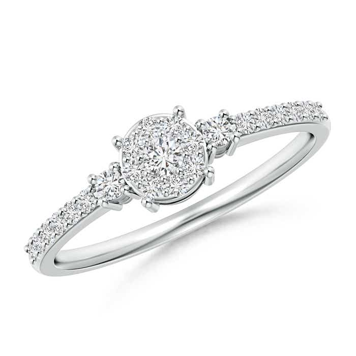 Cluster Round Diamond Halo Engagement Ring in Prong Set - Angara.com