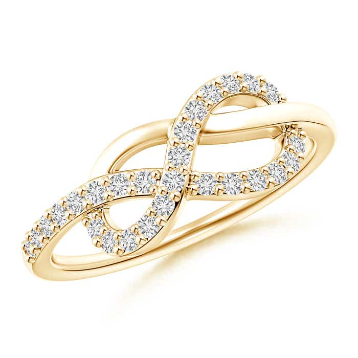 Natural Round Diamond Infinity Knot Ring in 14k White Gold